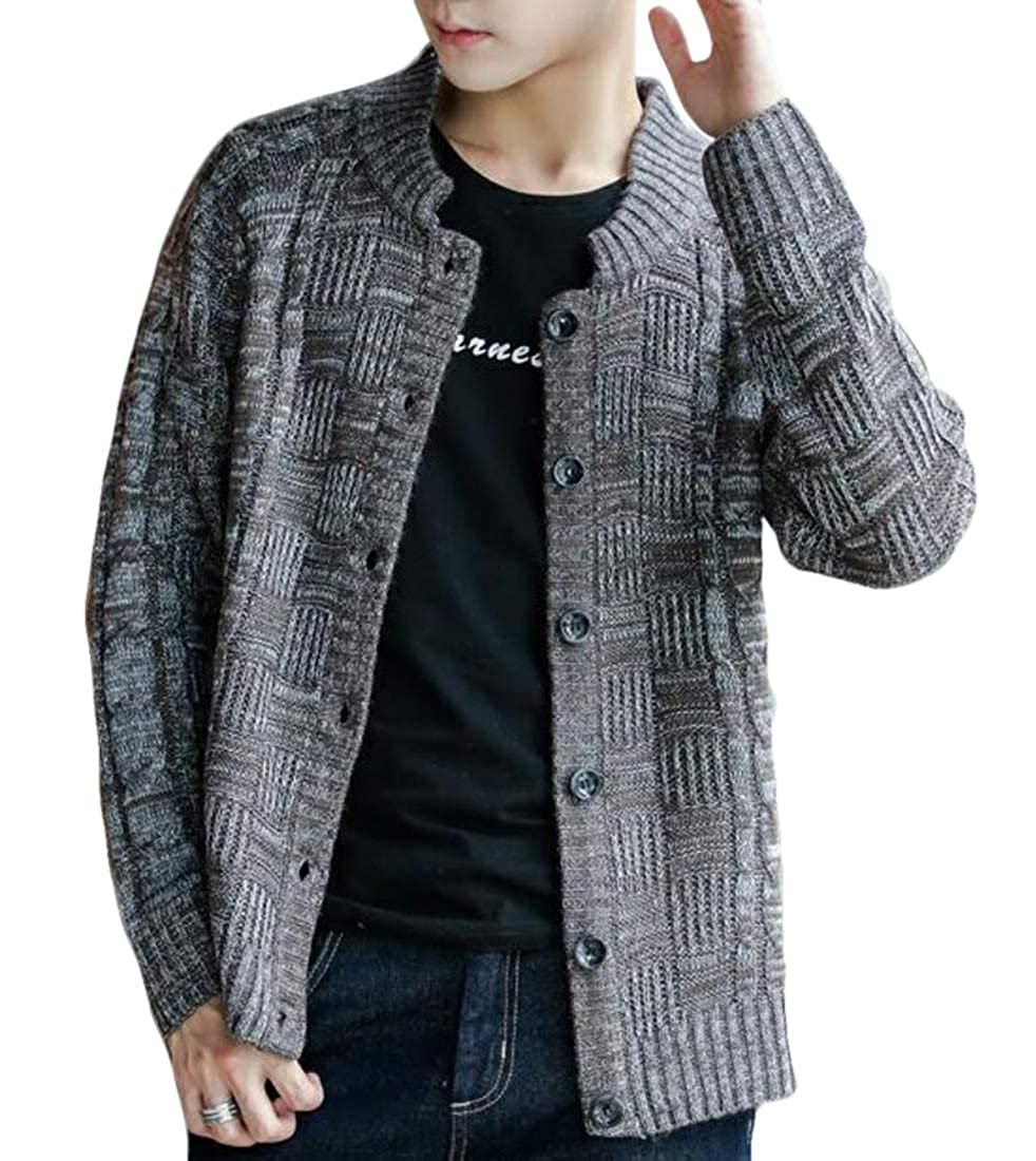 UUYUK Men Casual Button Down Slim Fit Knit Cardigan Sweater