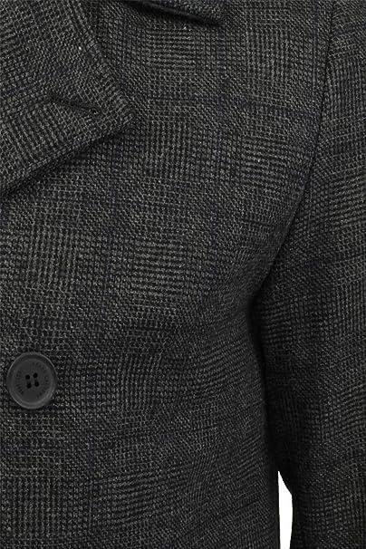 Tokyo Laundry Herren Wolle Mischung Jacke Tweed Kariert Zweireihiger Trenchcoat
