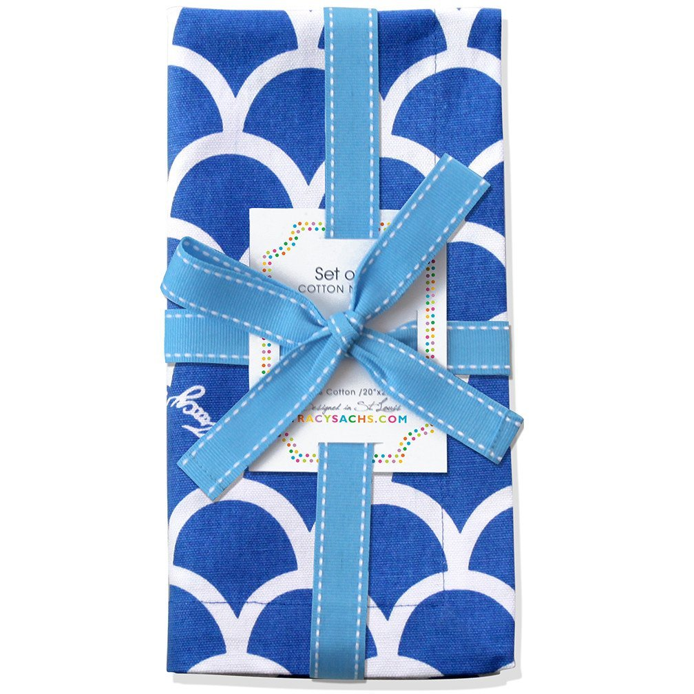 Tracy Sachs Blue Wave Napkins –Set of 4 Premium Table Cotton Linens for The Dining Room or Outside Party – Reusable Washable Fabric – Blue, White Fun Summer Pattern.