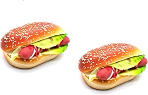 1:1 Scale Handmade Simulated Food Refrigerator Magnets 3D Decorative Fridge Magnets for Home Kitchen Decor Food Toys (Hamburger), Pack of 2