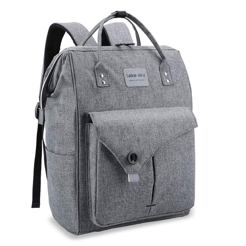 Lekesky Laptop Backpack 15.6 Inch Work Laptop Backpack Computer Backpack Business Backpack Water Repellent Travel Backpack for Women and Men, Grey by Lekebaby