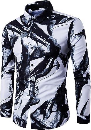 CLOCOLOR SYMALL Hombre Camisa de Manga Larga Estilo Casual Impresión Entintada Slim Fit Fashion Camisa para Hombre Corte Recto, Blanco M: Amazon.es: Ropa y accesorios