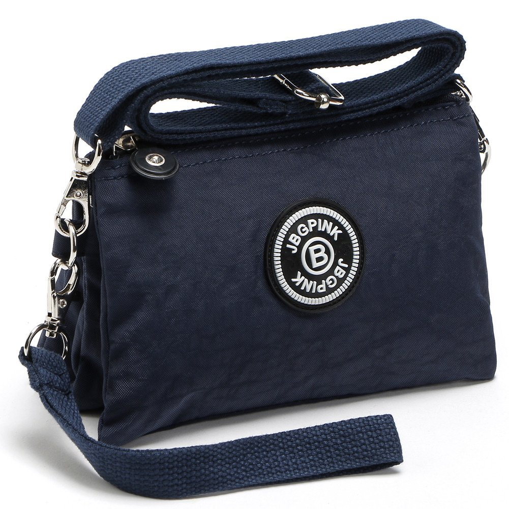 3 Layer Zipper Nylon Wallets for Women Wristlet Bag Purse Waterproof Cell Phone Pouch Handbag (B-deep blue)