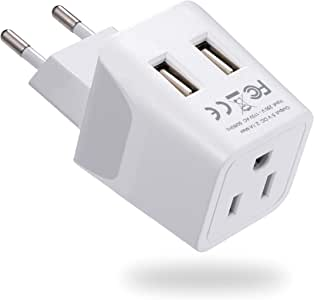 Ceptics Canada to Europe Travel Adapter (Type C) - Dual USB - Charge your Cell Phone, Laptops, Tablets - Non-Grounded (CTU-9C)