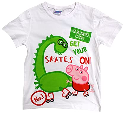 7abc8162a Boys T-Shirt Peppa George Pig Travel Journal Skates On Cotton Top Sizes  from 3 to 8 Years: Amazon.co.uk: Clothing