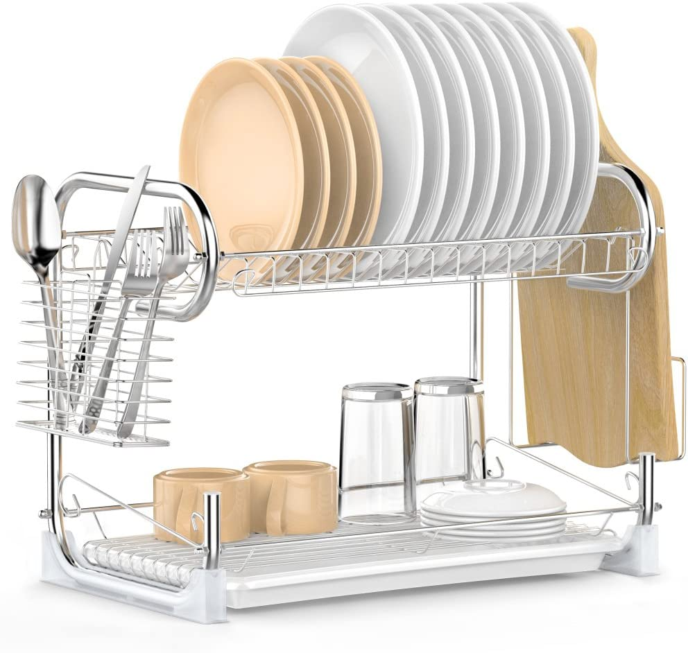 Dish Drying Rack, iSPECLE 2-Tier Dish Rack with Utensil Holder, Cutting Board Holder and Dish Drainer for Kitchen Counter, Plated Chrome Dish Dryer Silver