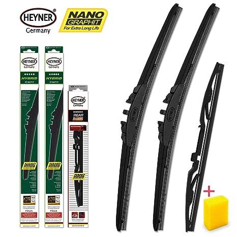 Heyner 10061655 de S Hybrid grafito frontal Borrador y Limpiaparabrisas Trasero Nano Longlife de revestimiento,
