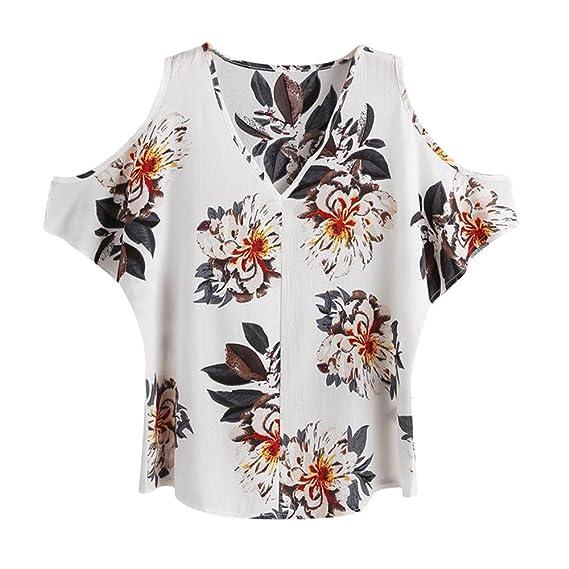 afe7bb5994b2f Outsta Women s Cold Shoulder V-Neck Floral Short Sleeve Blouse Shirt Top  White S