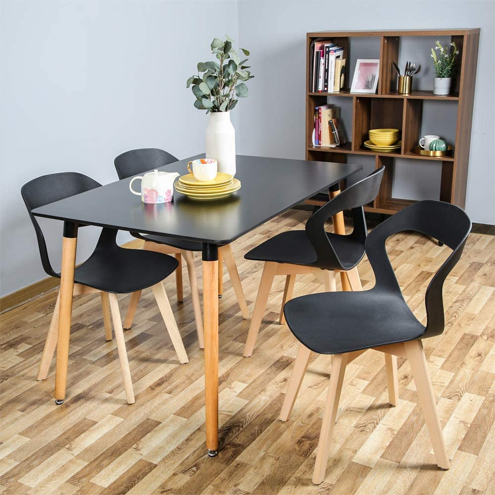 Amazon Com Bestier 4 Modern Dining Chairs Mid Century Modern Chair Plastic Armless Side Chair With Beech Legs Ergonomic Chair For Dining Room Living Room Bedroom Kitchen Office Set Of 4 Simple
