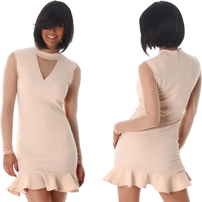 StyleLightOne Damen Minikleid Netz Stretch Volant Clubwear Cocktail Party 34-40