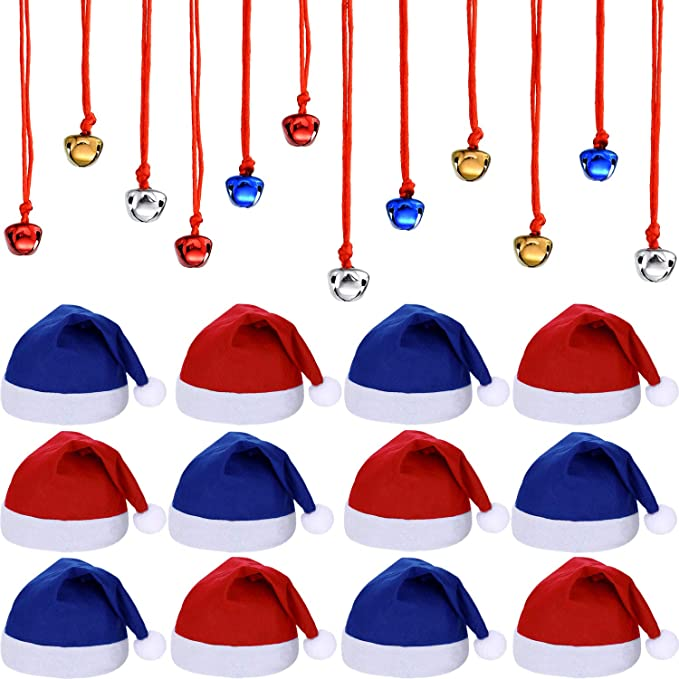 Fabric Santa Hat with Metal Jingle Bell Necklaces for Christmas Party New