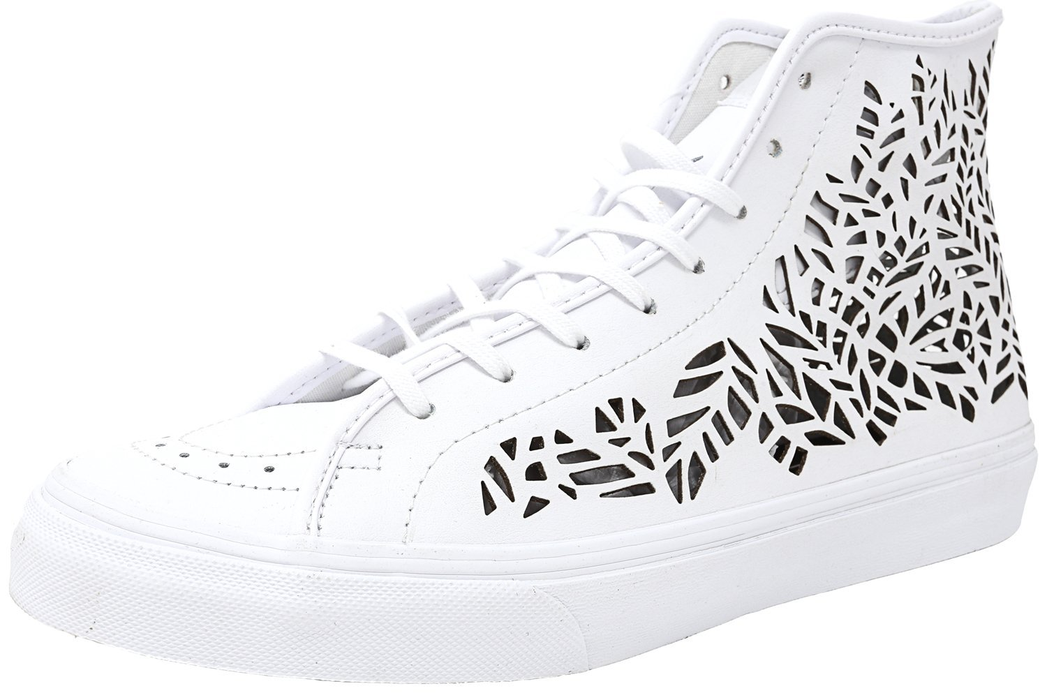 Vans Womens Sk8-Hi Decon Leather Hight Top Lace up Fashion Sneakers B01A94ZTX4 9 B(M) US|Leaves/White
