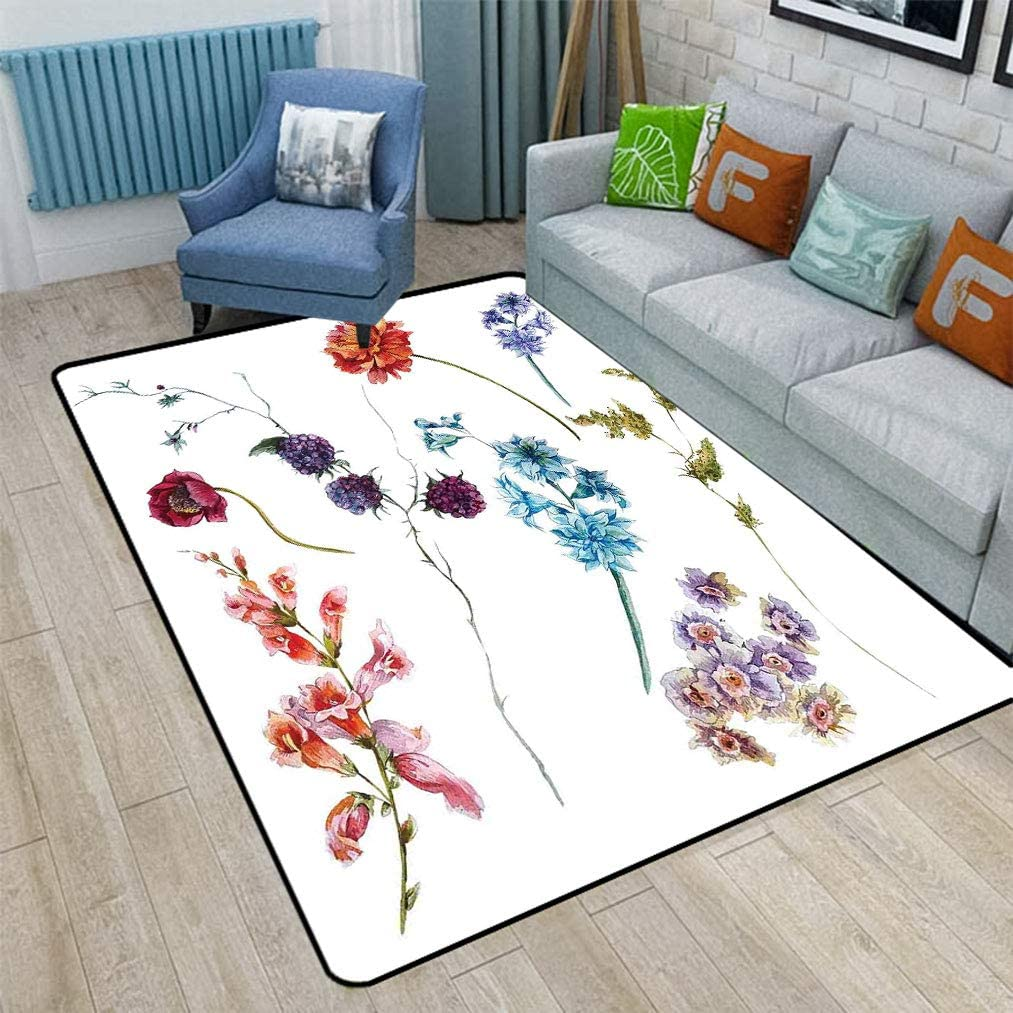Watercolor Flower Shag Floor Mats Colorful Watercolor Wildflowers And Sprigs Flowers Botanical Garden Theme Vintage Area Rugs For Living Room Bedroom 5 X 7 Multicolor Kitchen Dining