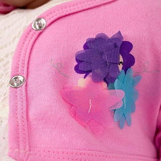 Gr/ö/ße: 6-9 Monate 2 Teile Kleid Strickjacke f/ür Neugeborene /& Kleinkinder Motiv: wei/ß rosa Blumen 74 Lily /& Jack Baby Set M/ädchen Bodykleid Bolero