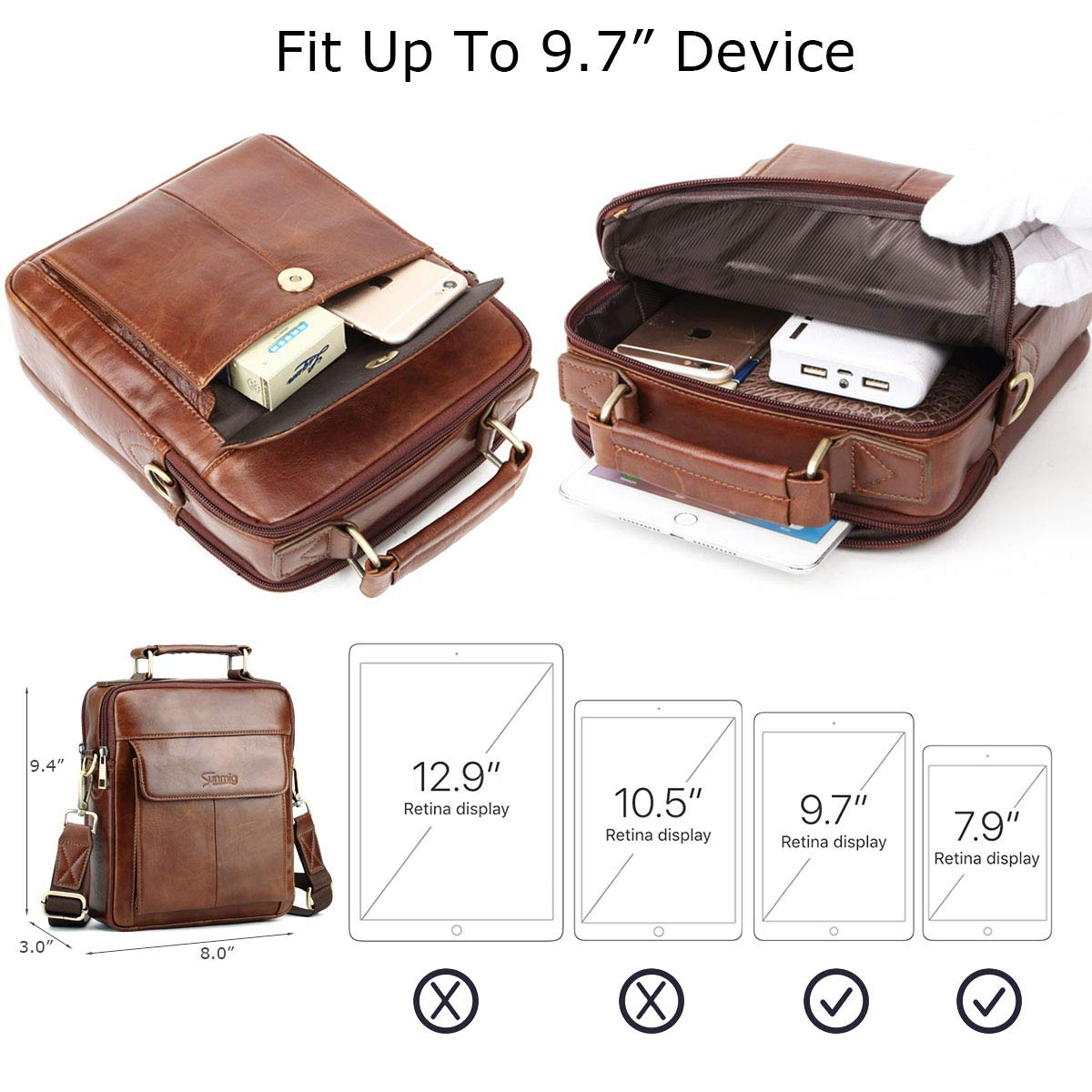 e5059d3c94 Sunmig Mens Genuine Leather Shoulder Bag Messenger Briefcase CrossBody  Handbag  (Brown )
