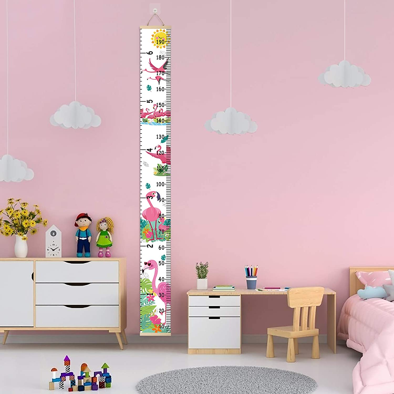 ZoomSky Kinder Messlatte Tragbare Roll-up Holz Talltape Wand H/ängende H/öhe Diagramm Wachstumsmesser Baby K/örpergr/ö/ße Messleiste Kinderzimmer Deko mit Haken und Marker Etikette Flamingo