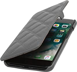 "StilGut Book Type Case con Clip, Custodia in Pelle Cover per iPhone 7 Plus & iPhone 8 Plus (5,5"") Chiusura a Libro Flip-Case in Vera Pelle, Grigio Nappa, Carato"