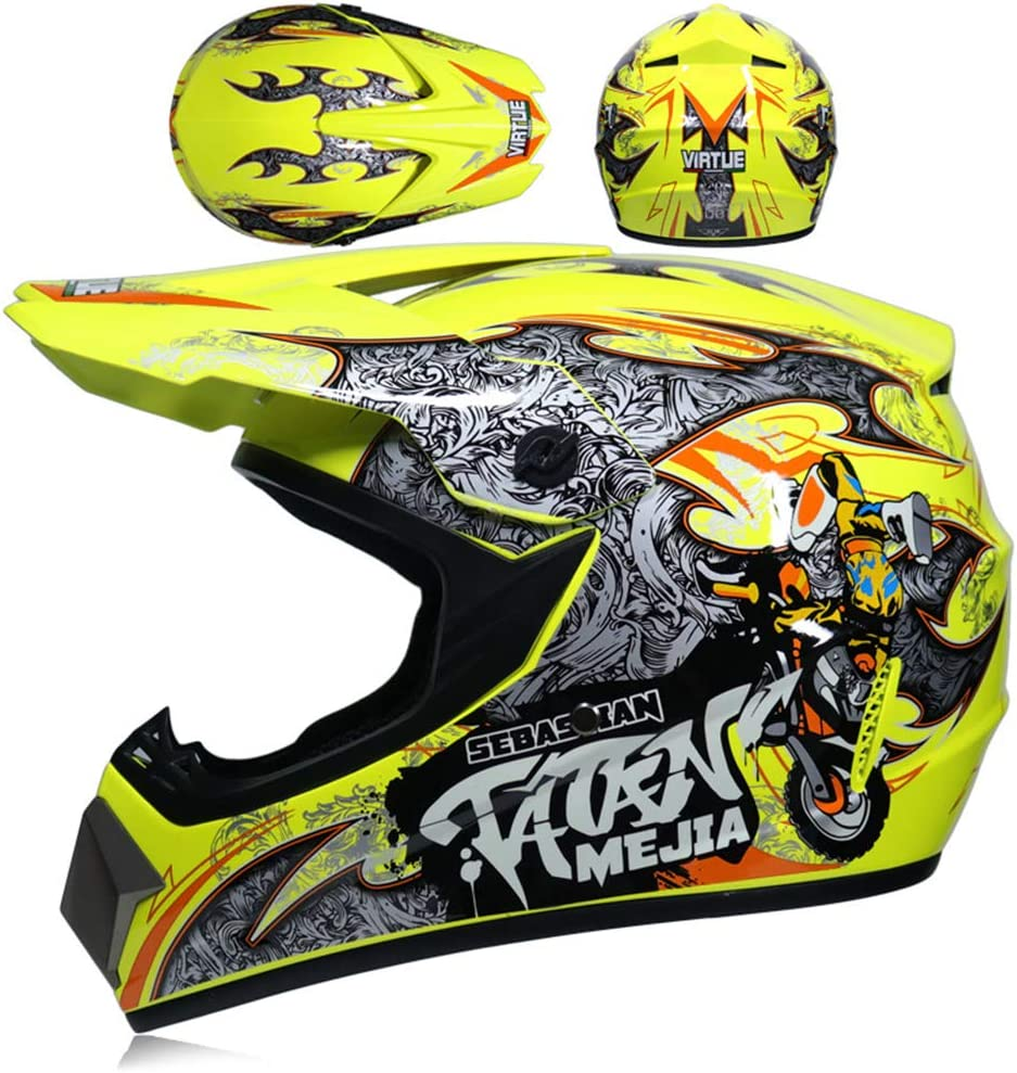 Professionelles Set Motocross Off-Road Motocross-Helm Road Race mit Brille // Handschuhe Kinder f/ür Motorrad