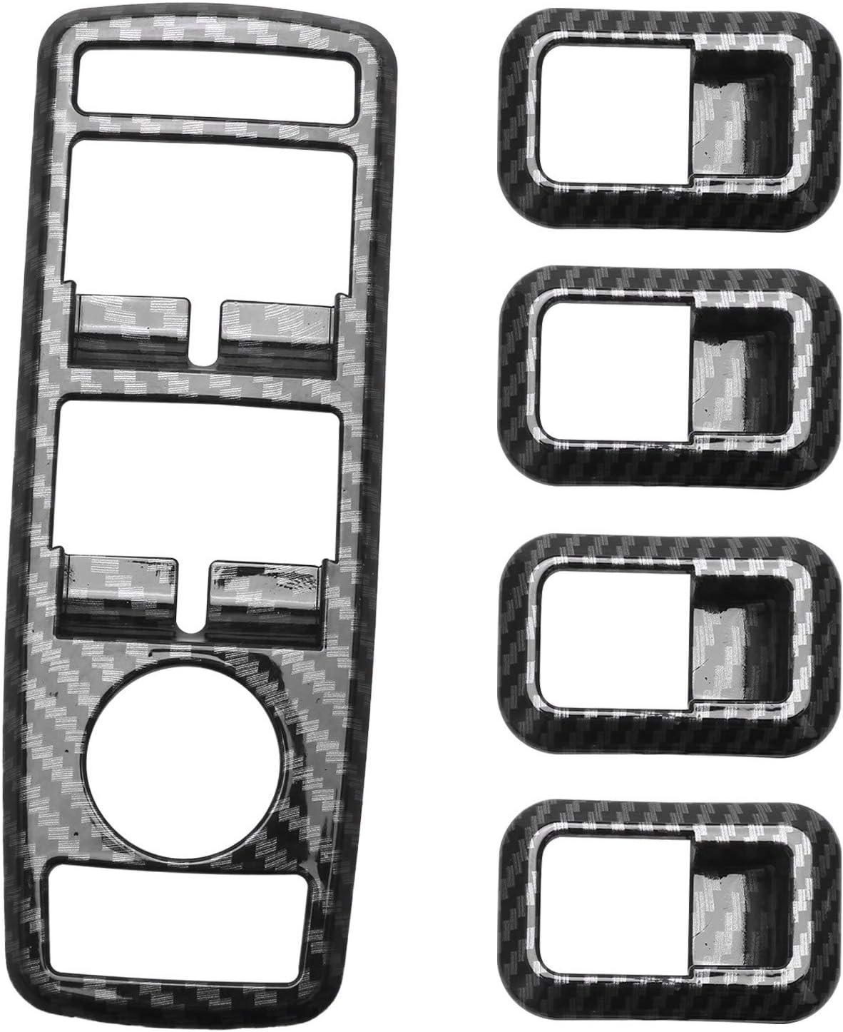 Nrpfell 5 Pi/èces Voiture Auto en Fiber De Carbone Interrupteur De Fen/être Bouton Garniture Couverture Cadre pour Mercedes Une B C E Cla Gla Glk ML Gle Classe W204