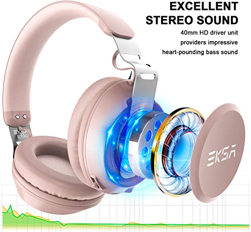 EKSA Over Ear Bluetooth Headphones-30 Hours Play Time Wireless Headset with Built-in Microphone,40mm Driver,Thumping Bass,Supports Hands-Free Calling and Wired Mode for Women Girls Kids – Rose Gold