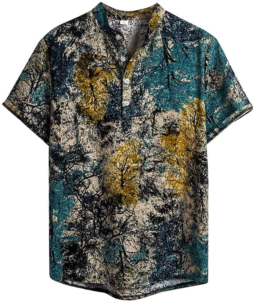 F/_Gotal Shirts for Mens Hawaiian Printed Loose Short Sleeve Casual Buttons T-Shirt Summer Aloha Beach Shirts for Holiday