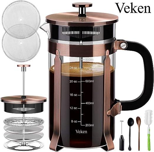 Veken - Cafetera de prensa francesa (8 tazas, 34 oz), prensa de ...