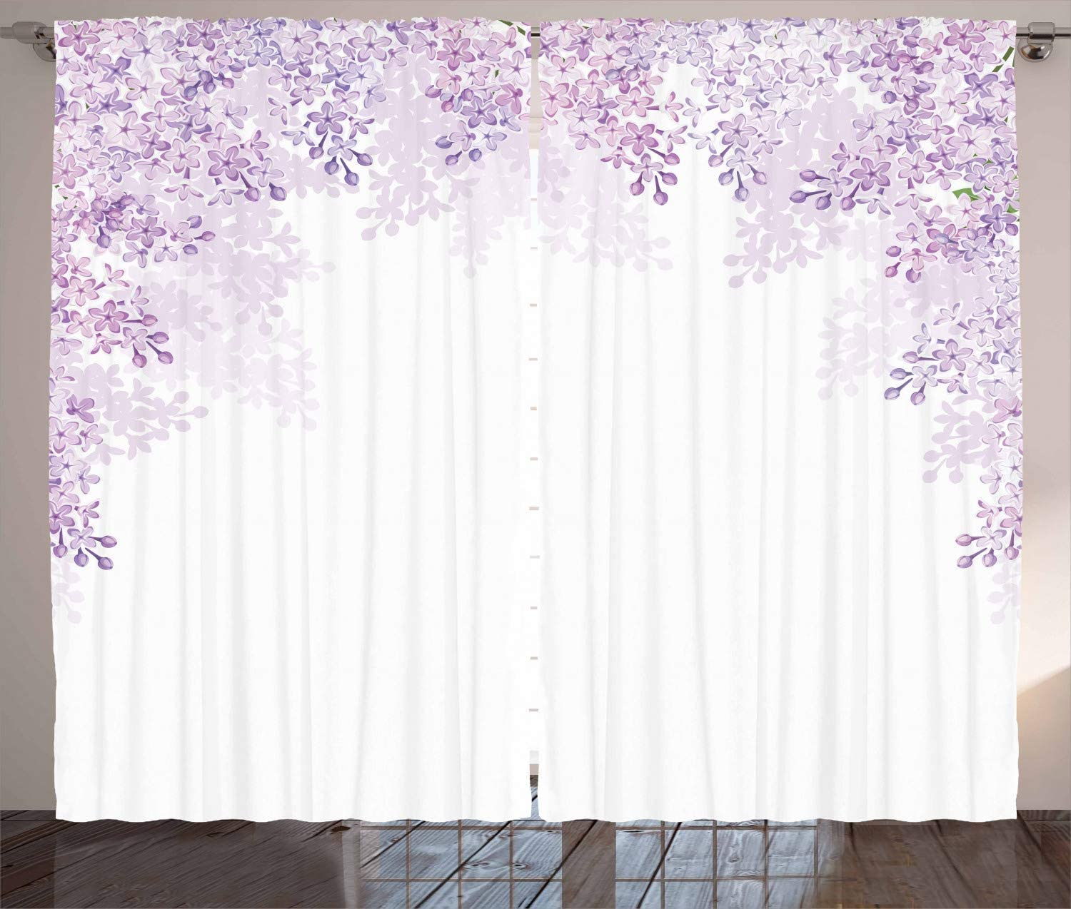 """Ambesonne Flower Curtains, Framing Lilac Flowers in Blossom Vernal Season Soothing Color Shades, Living Room Bedroom Window Drapes 2 Panel Set, 108"""" X 108"""", Lavender White"""
