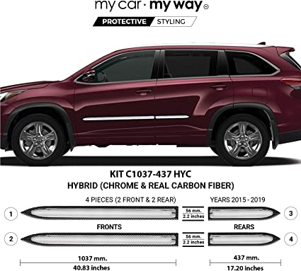For Toyota Highlander 2014-2019 Dawn Chrome Lower Body Side Moldings