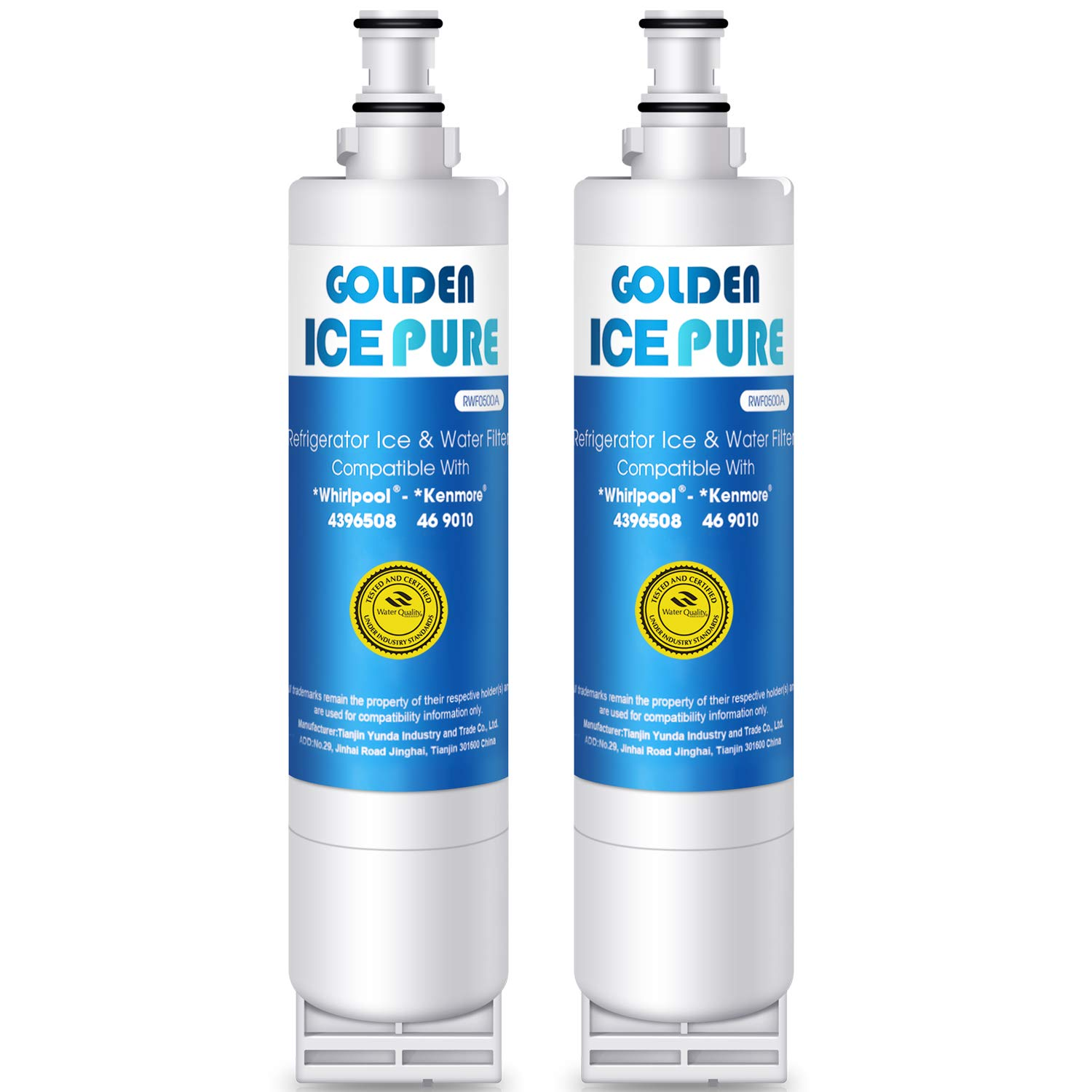 Golden Icepure Refrigerator Water Filter,Compatible with 4396508, 4396510, Kenmore 46-9010(2-Pack)(New Packaging)