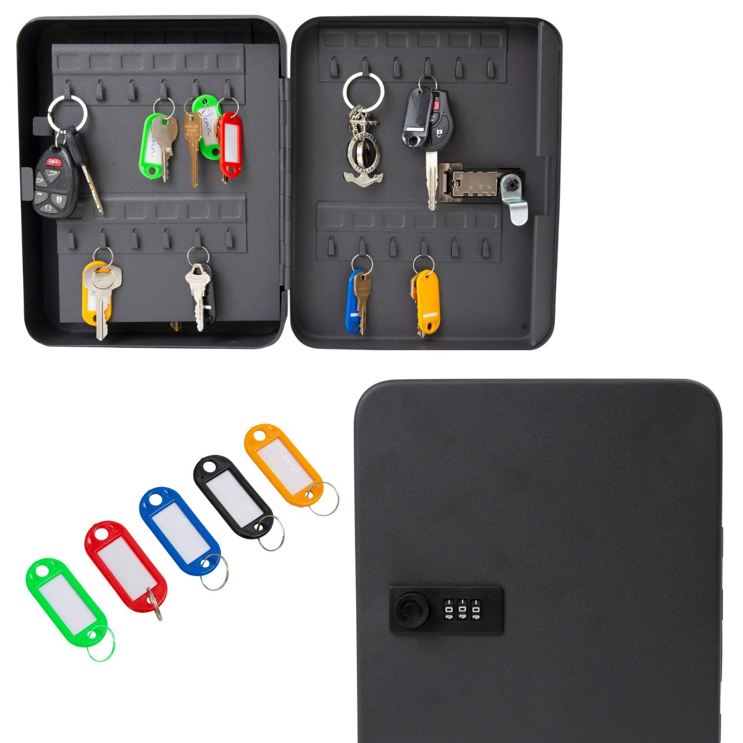 "Metal Houseables Key Lock Box Black 7.9/"" W x 9.9/"" L Real Estate Office LBC-BK-1008 Combination Code Locker Storage Organizer Wall Mount Safe Lockbox Cabinet 48 Tags Outdoor Keybox Closet for Realtor"