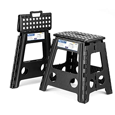 Acko 2 Pack 16 Inches Super Strong Folding Step Stool for Adults, Kitchen Stepping Stools, Garden Step Stool Black: Home & Kitchen