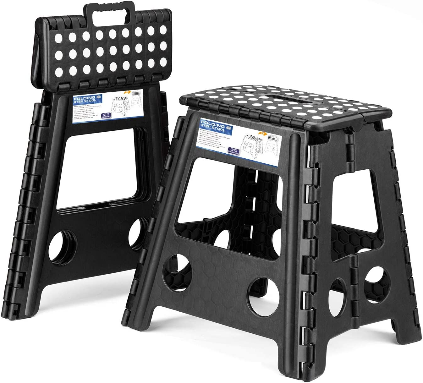 Acko 2 Pack 16 Inches Super Strong Folding Step Stool for Adults, Kitchen Stepping Stools, Garden Step Stool Black