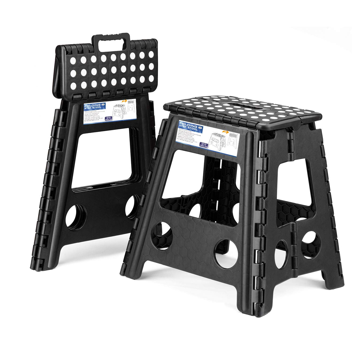 Acko 2 Pack 16 Inches Super Strong Folding Step Stool for Adults, Kitchen Stepping Stools, Garden Step Stool Black by Acko