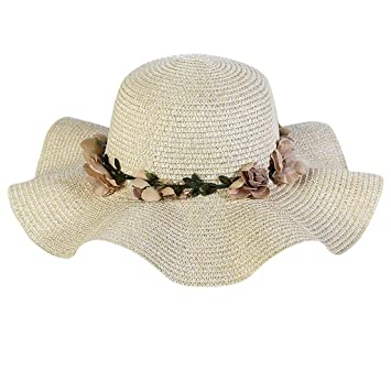 Effulow Women Fashion Big Wide Brim Curved Edge Straw Hat Colorful Flower  Beach Sun Foldable Soft 67fe9caabd69