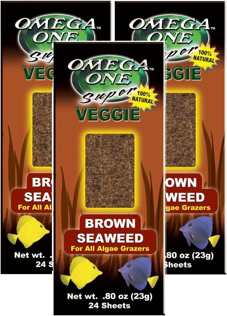 Omega One 3 Pack of Super Veggie Brown Seaweed, 24 Sheets Each, for All Algae Grazing Fish