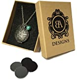 Essential Oil Diffuser Necklace with 4 Leather Discs, Silver Pendant 18 Chain, Young Living Doterra Oils