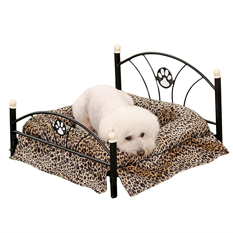 pawz road metal frame pet beds dogcat bed soft warm dog kennel pet cushion upscale metal frame zebrastripe mattress bed leopard amazoncouk pet
