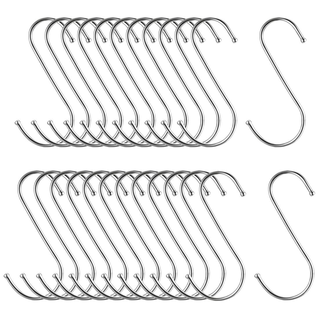 uxcell Metal S Hooks 4.72 inches S Shaped Hook Hangers for Kitchen Bathroom Bedroom Storage Room Office Outdoor Multiple Uses 25pcs