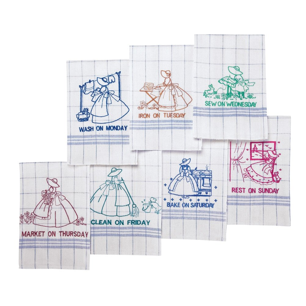 Collections Etc Embroidered 7 Days of The Week Dish Towels, White