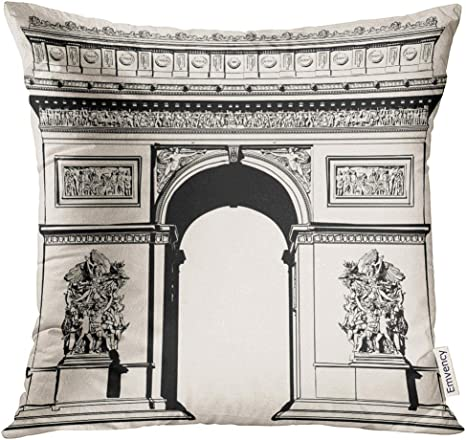 Amazon Com Upoos Throw Pillow Cover Arch France Paris Arc De Triomphe Very Detailed Representation Of Hand Drawing Triumph Architecture Decorative Pillow Case Home Decor Square 20x20 Inches Pillowcase Home Kitchen