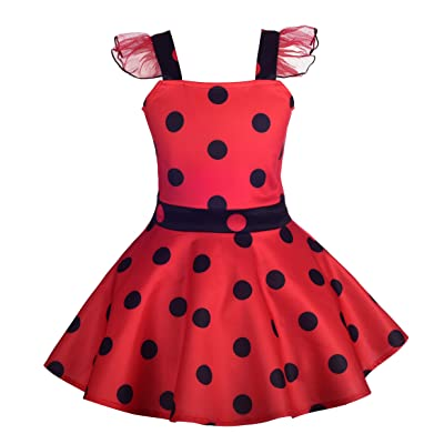 Dressy Daisy Girls Polka Dots Ladybug Dress Up Costume Birthday Halloween Christmas Fancy Party Outfit: Clothing