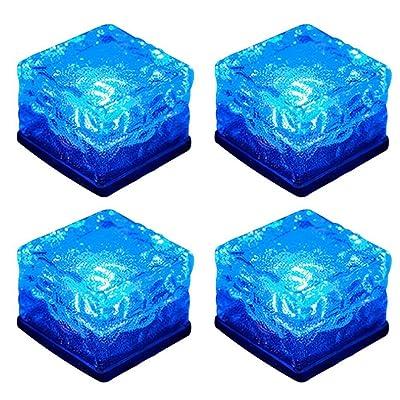 WONFAST Solar Glass Brick Lights, Ice Cube Lights Solar Landscape Light Buried LED Frost Glass Path Lights for Garden, Outdoor Decoration Waterproof 4-Pack (Blue) : Garden & Outdoor