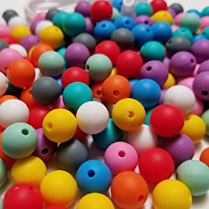 Silicone Beads - 200PC 12mm - Jewelry Necklace Bracelet Making Kit - Food Grade BPA Free Arts and Crafts Supplies (200PC Original)