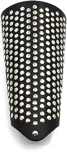 Holattio Mens Black Faux Leather Metal Arm Guards - Medieval Bracers