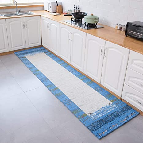 AMIDA Runner Rug Machine Washable Non Slip for Hallway and Kitchen  2.3\'x8.9\' - Blue and Beige - Contemporary Gabbeh - Flat Weave - Dog  Friendly - Soft ...