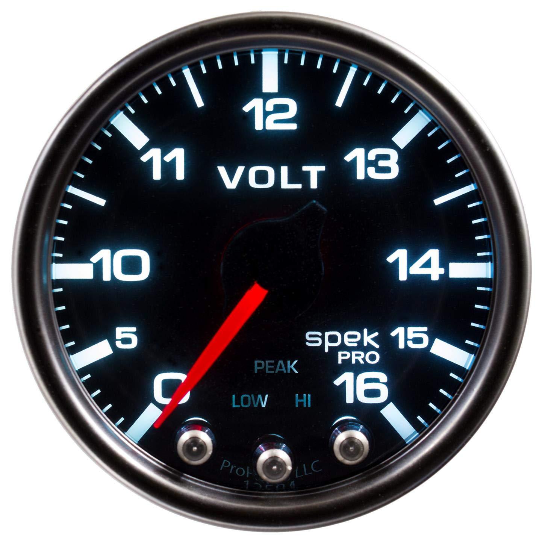 Stepper Motor W//Peak /& Warn Voltmeter Smoke//Blk Spek-Pro 2 1//16 2 1//16 Auto Meter P34452 Gauge 16V