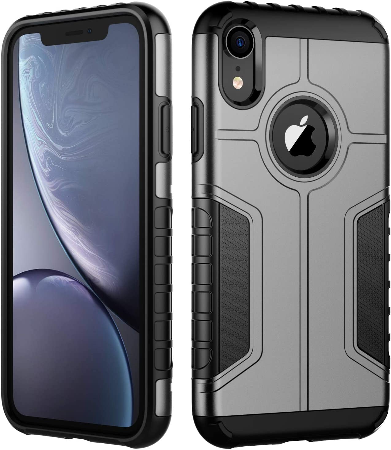 JETech Case for iPhone XR, Dual Layer Protective Cover with Shock-Absorption, Grey