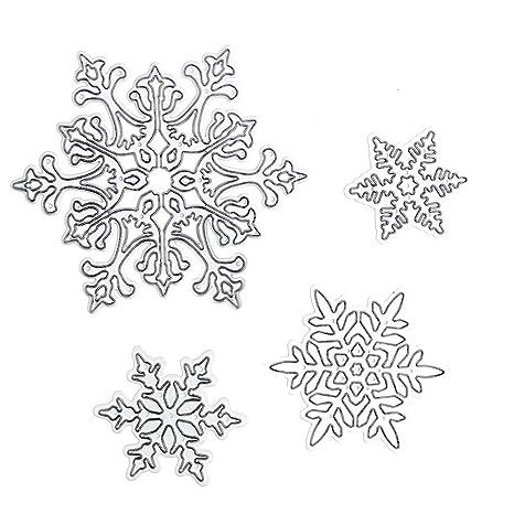 Gosear 4 Piezas Surtidos tamaños de Acero al Carbono Copo de Nieve en Relieve Matrices de