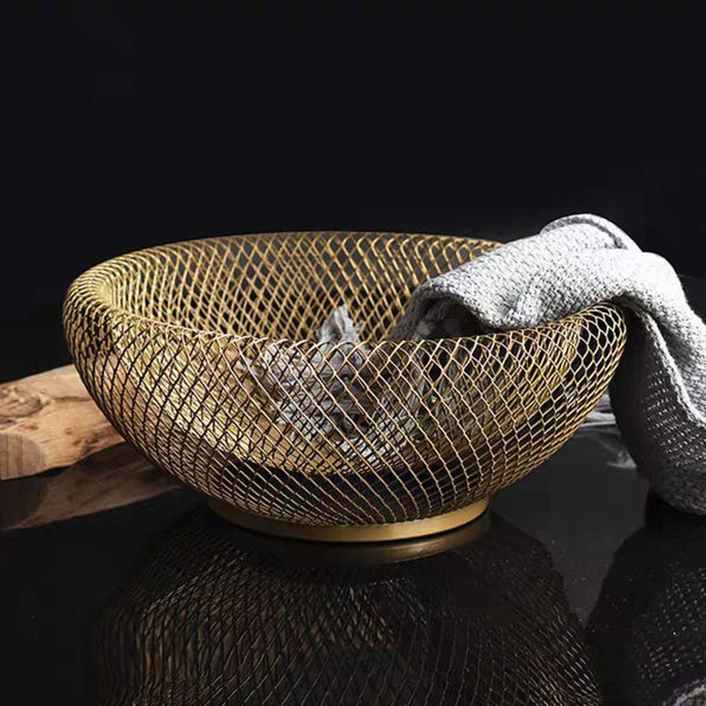 Pegcduu Doble Pared de Malla Decorativa de la Fruta Cesta de Metal Malla Aperitivo Cuenco Cocina como Centro Titular Negro