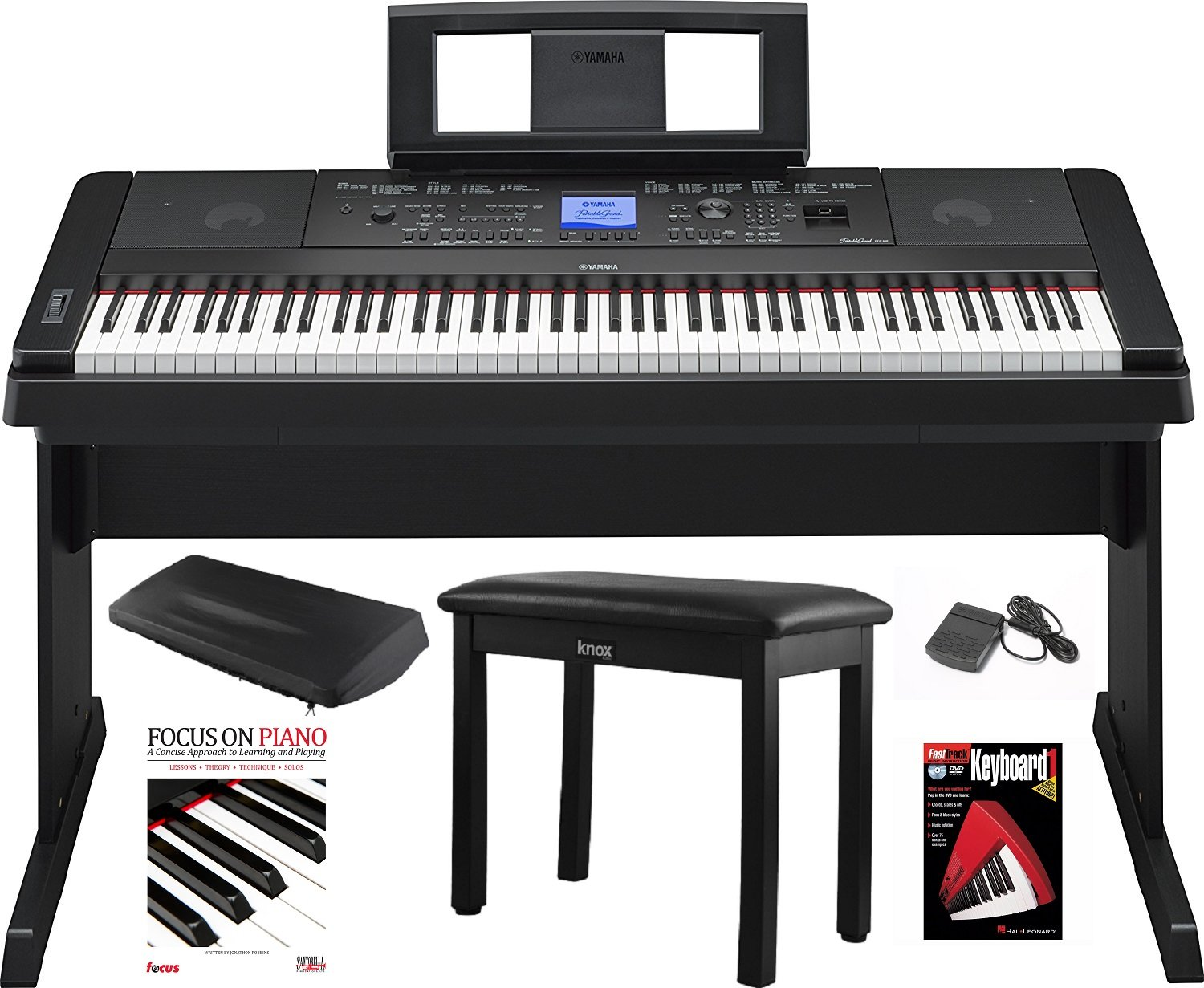 Yamaha DGX-660 88 Key Grand Digital Piano with Knox Piano Bench,Pedal,Dust Cover and Book/DVD by YAMAHA